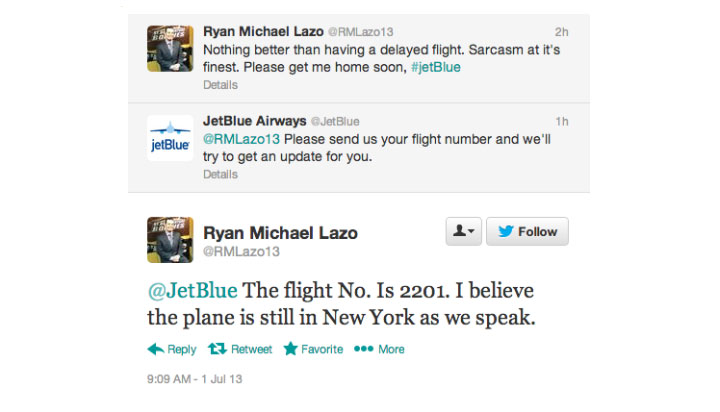 customer service example from JetBlue