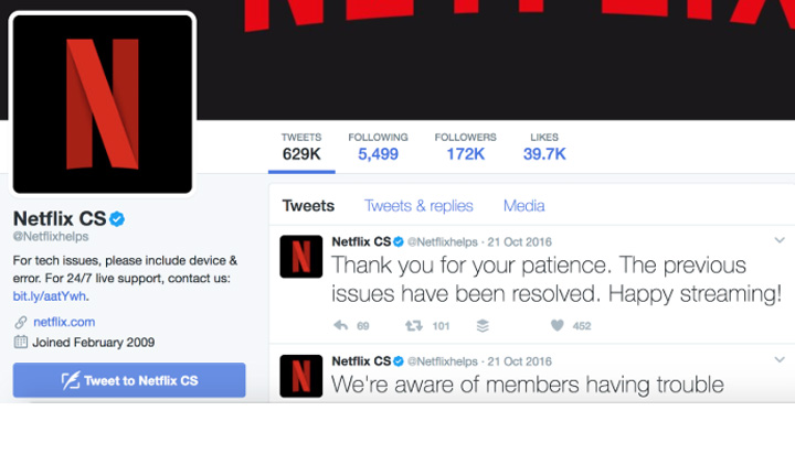 customer service example from Netflix