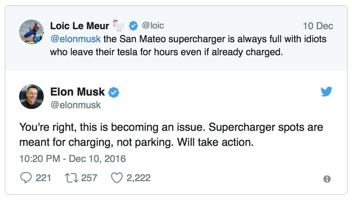 customer service example from Tesla