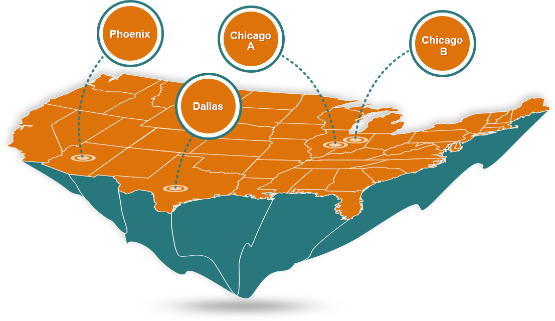 Data Center CloudSpace Technologies - Map of us data centers