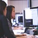 working on software in call center
