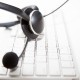 outbound call center - headphone and keyboard